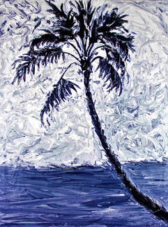 Black and White Palm Tree 48x36 Oil on Canvas