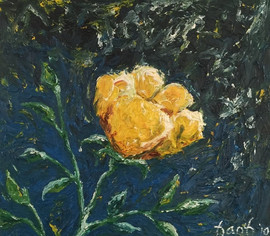 Yellow Rose Blue 15x17 Oil on Canvas