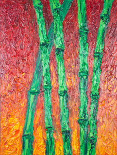 Red Bamboo 20x15 Oil on Canvas