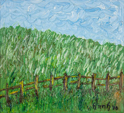 Fences II 12x11 Oil on Canvas