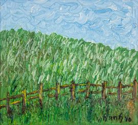 Fences II 12x11 Oil on Canvas
