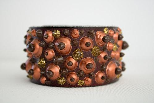 Big Dot Bracelet - Brown, Orange & Gold