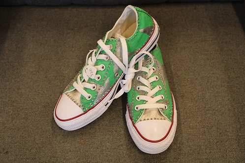 Green with Silver Stars