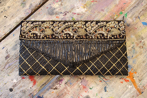 Detailed Gold and Brown Painted Handbag