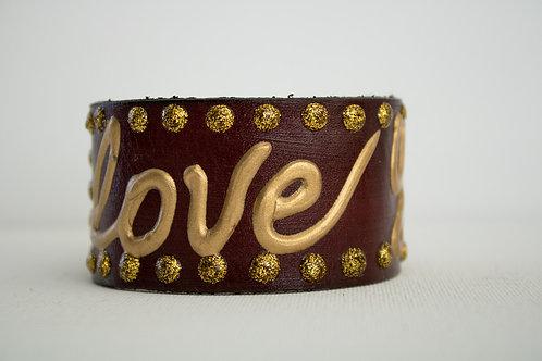 Love You Bracelet - Brown,Gold & Gold