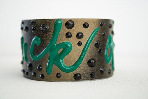 Fuck Off Bracelets - Gold, Black & Green