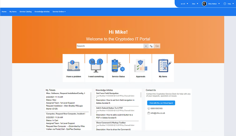 Basic self service portal