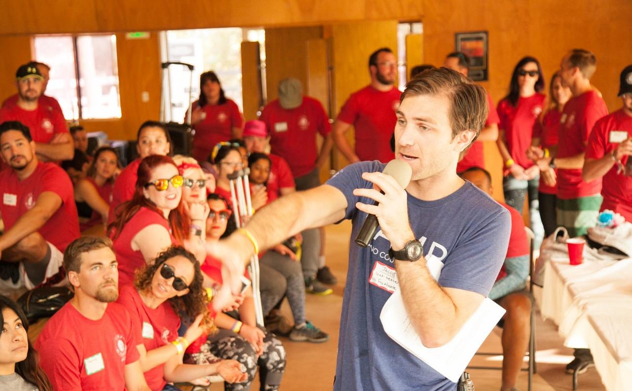 Jacob on microphone Color War speech