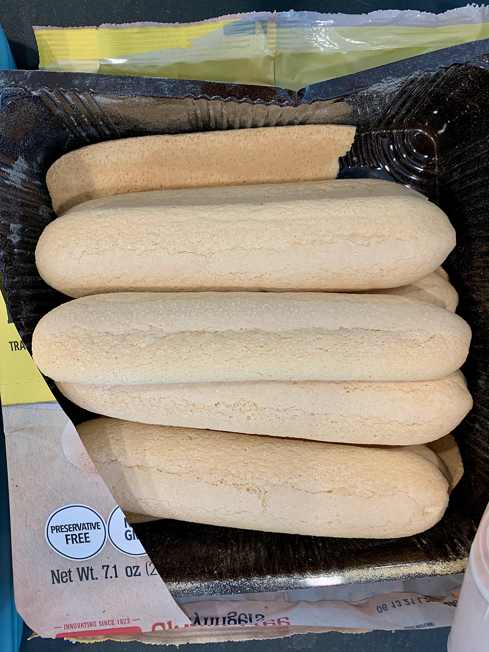 The inside of a package of Schar Gluten Free Ladyfingers