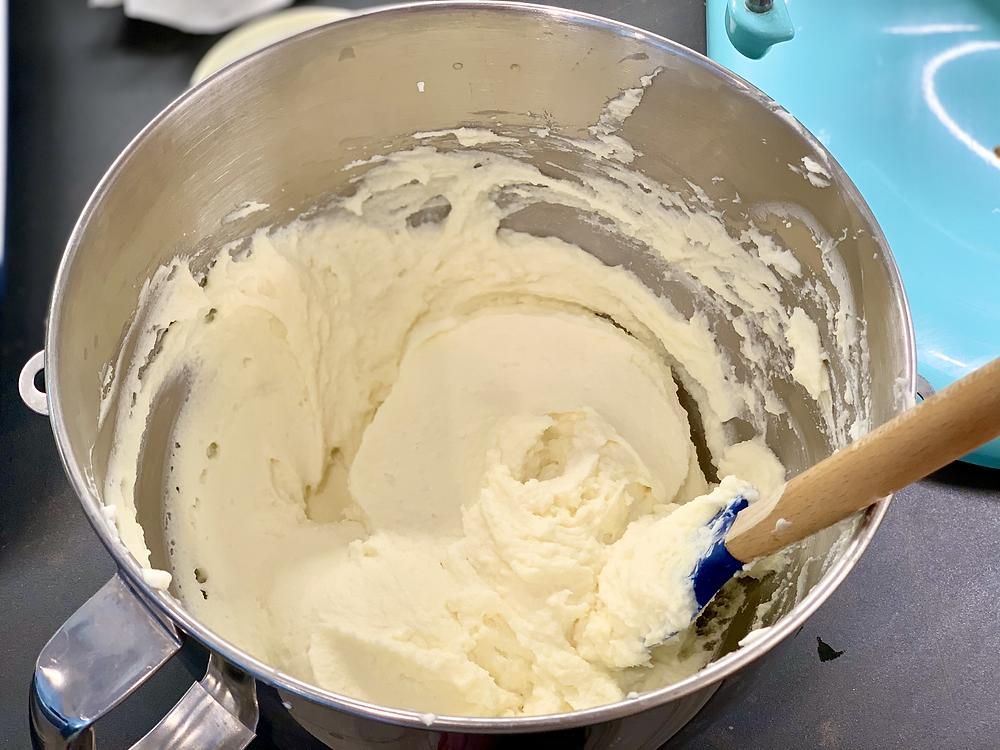 Mixing bowl of thick mascarpone cream