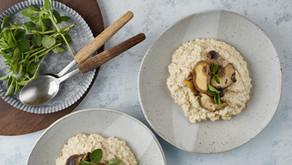 Quinotto: risotto de quinoa com cogumelos