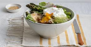 Salada verde escalfado
