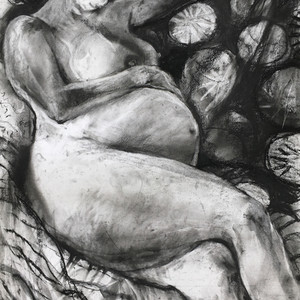 Pregnant nude resting