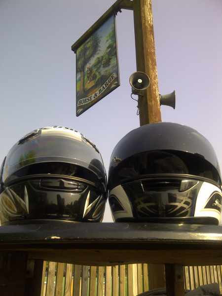 motorbike helmets side by side