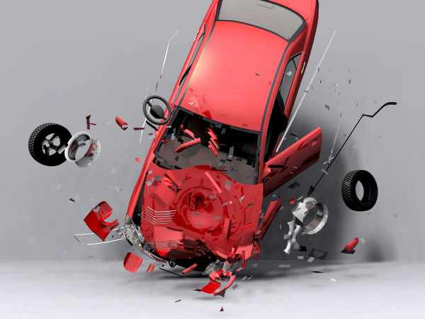 red car during an accident