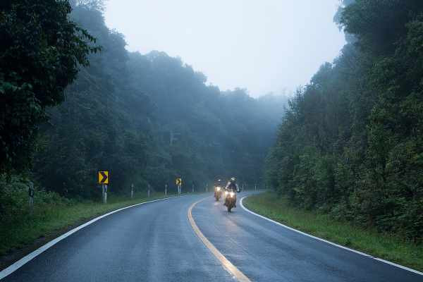 a group of riders in the forest road while raining