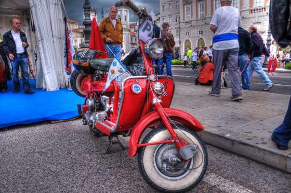 Red Lambretta Scooter With Fancy Tires