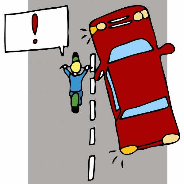 illustration of a car driver not seeing the blind spot and a motorcyclist is approaching
