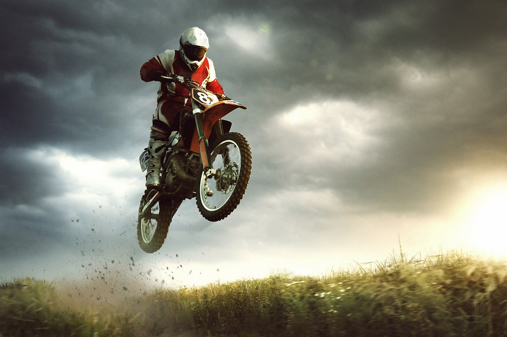 motorcross dirt bike on air