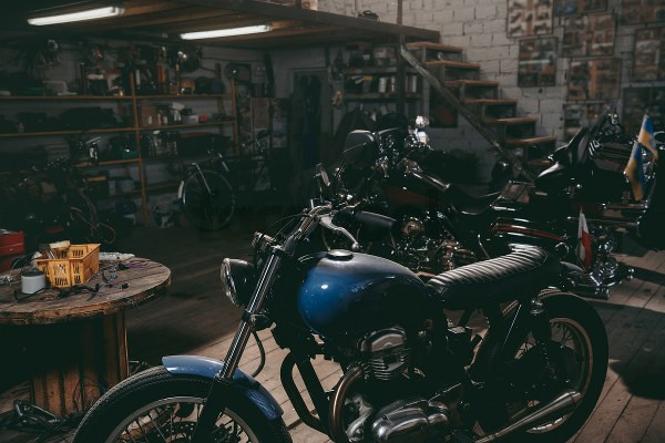 motorcycles stored in garage for winter season