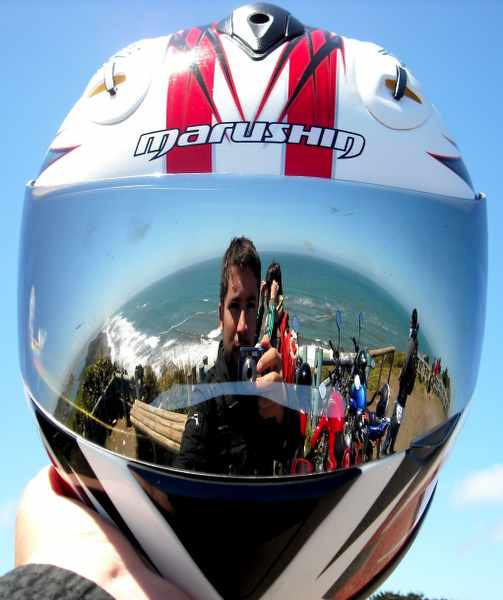 motorycle helmet reflection