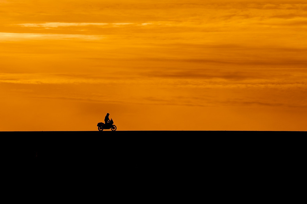 rider in the sunset