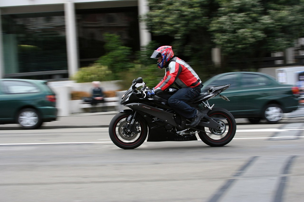 motorcycle rider in the street