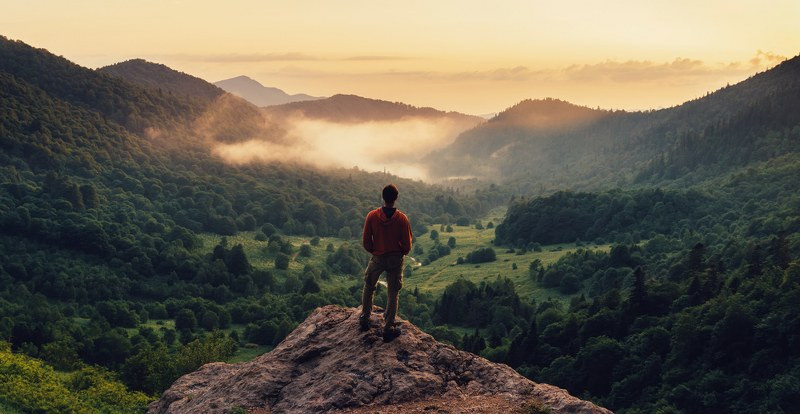 man standing on top of a rock enjoying the view of the forest and the sunset.jpg