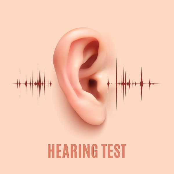 an ear with sound waves going in and out
