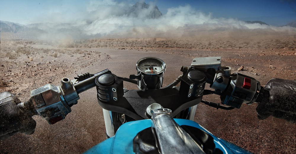 motorcycle wheels in desert