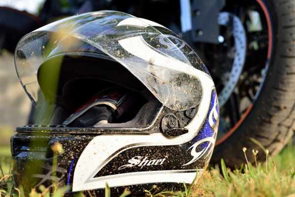 shoei full face helmet on grass