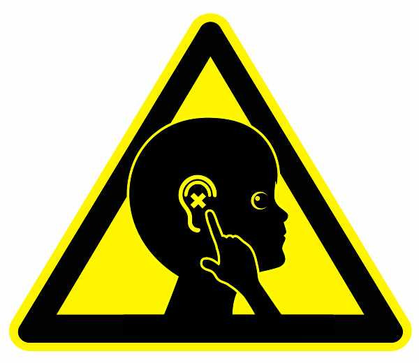 a sign with a triangle a head and fingers pointing to the ears