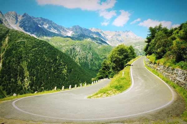 national park of stelvio twisty road