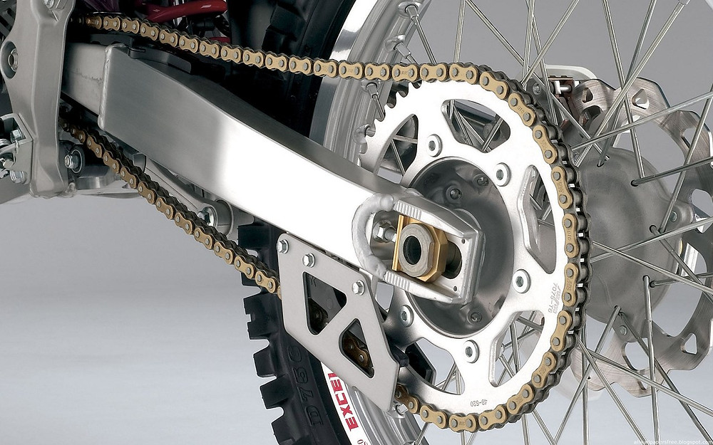 motorcycle wheel and chain