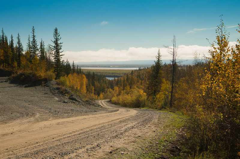 Siberian Road to Yakutsk in Russia