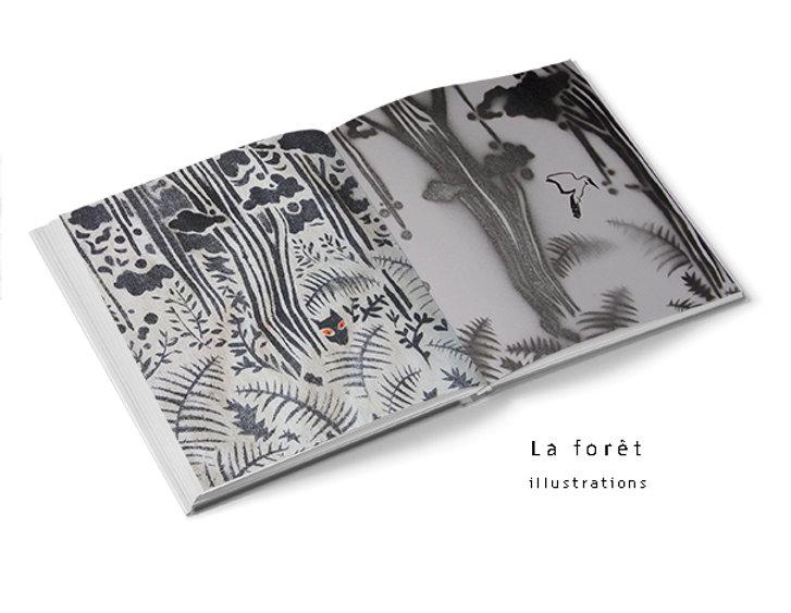 La forêt - pochoir et linogravure