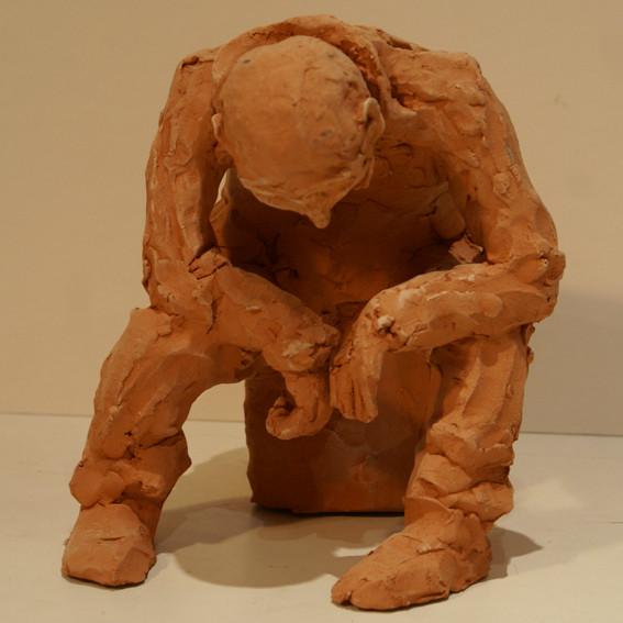 5 Sculpture terre rouge - hauteur 32 cm