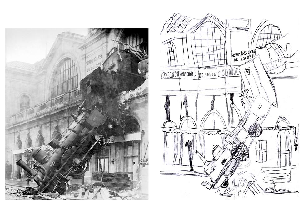 La locomotive tombée sur le boulevard du Montparnasse - Thibault