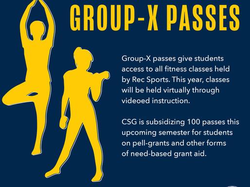 CSG Subsidizing 100 Group-X Passes
