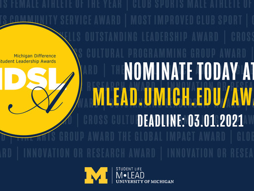 Nominate today! Michigan Difference Student Leadership Awards
