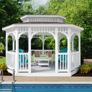 White Vinyl Oblong Gazebo