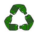 Water Bottle Recycling Logo - Green and