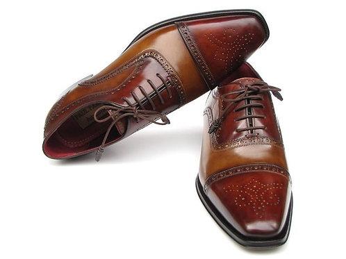 Paul Parkman Men Captoe Oxfords  Leather Upper and Leather Sole (ID#024-CML-BRD)