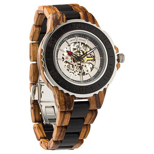 Men's Genuine Automatic Zebra & Ebony Wooden Watches No Battery Needed
