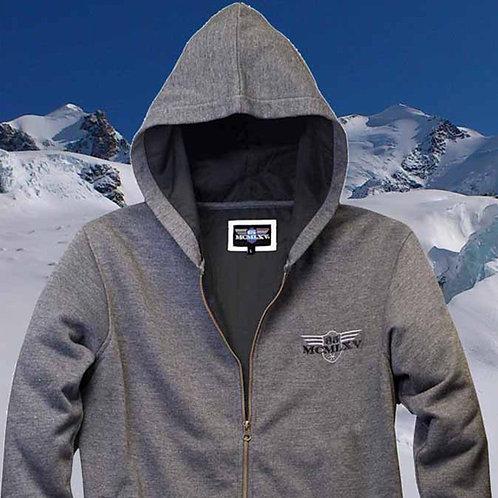 65 McMlxv Men's Fleece Zip Hoodie in Charcoal