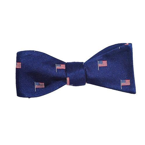 American Flag Bow Tie - Navy, Woven Silk - Spread