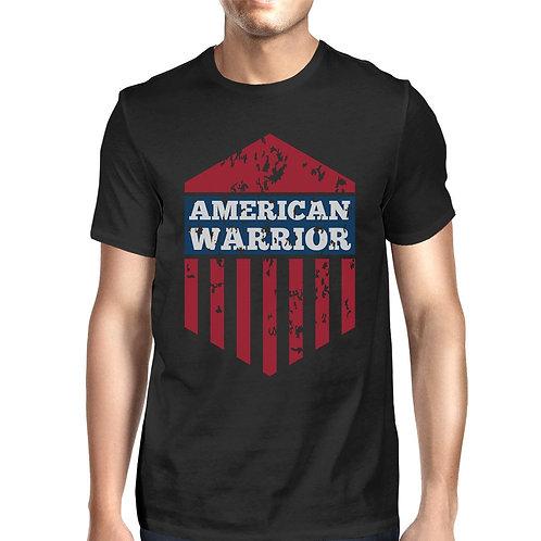 American Warrior Tee Mens Black Cotton Tshirt American Flag Shirt