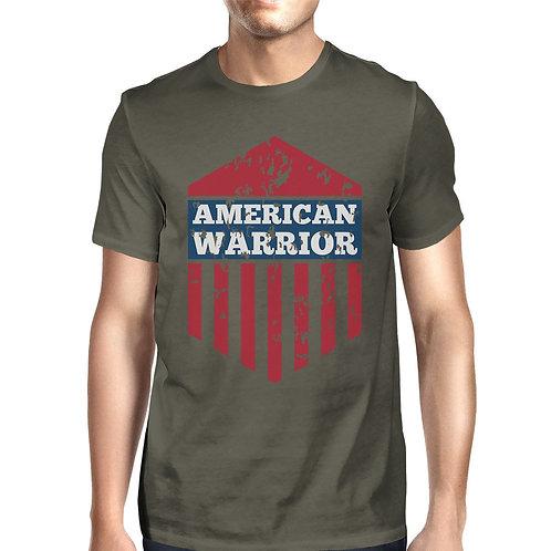 American Warrior Tee Mens Dark Gray Cotton Tee American Flag Shirt