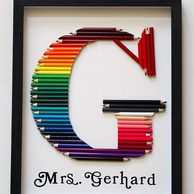 Rainbow Colored Pencil Monogram Gift