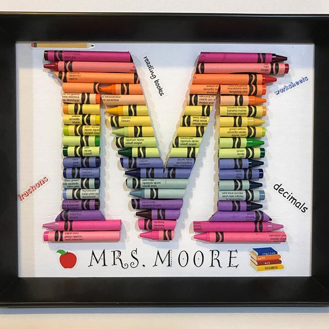teacher appreciation crayon letter gift